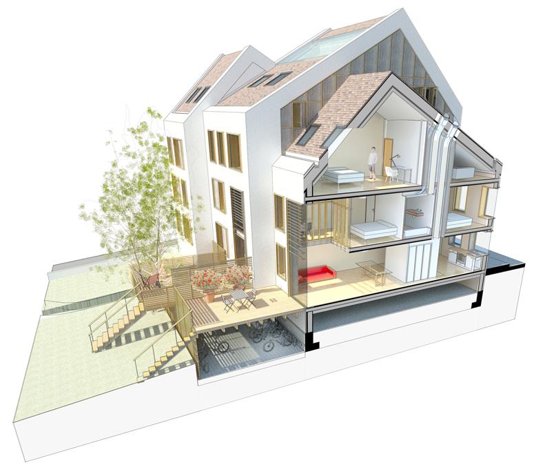 Coupe sur le dispositif de renouvellement de l'air et éclairage indirect